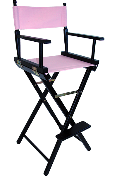 the tall directors chair in black wood with a pink canvas or plain - Tall Directors Chair