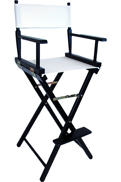 The tall directors chair in black wood with a white canvas
